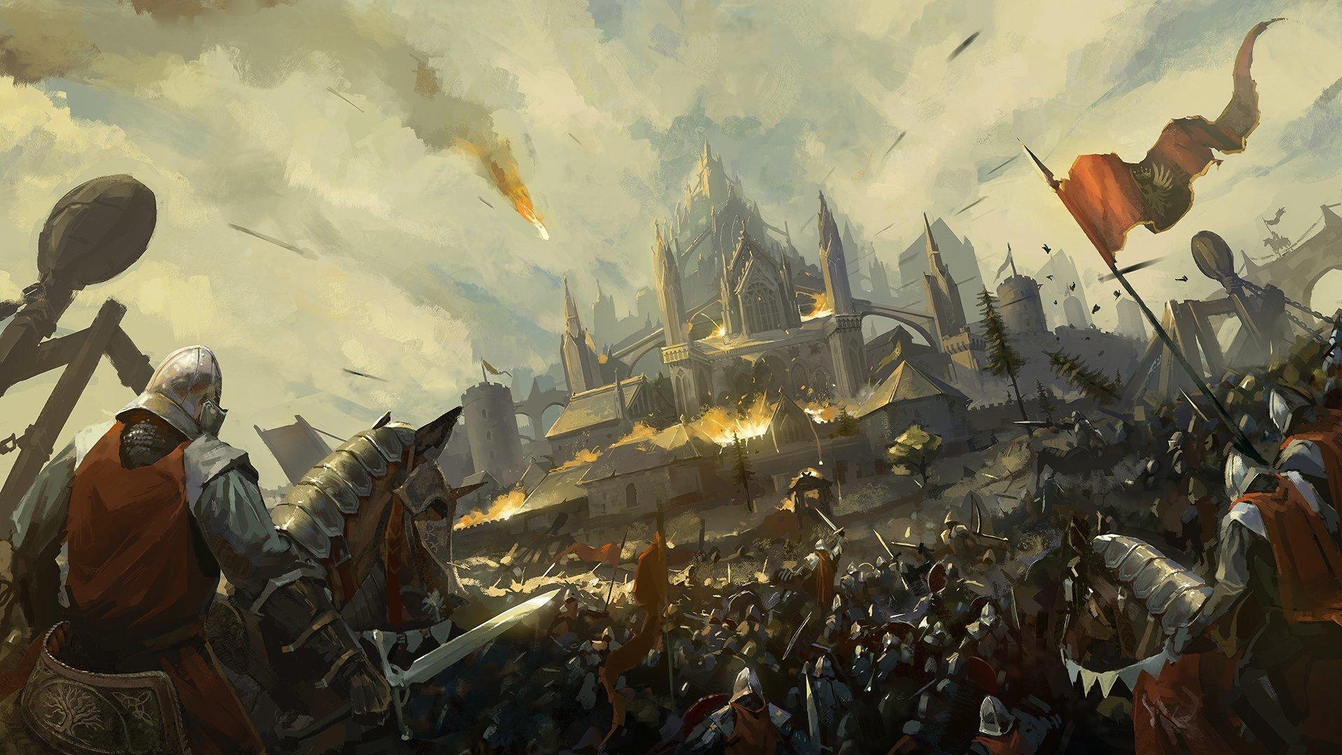 Обои «воин»), замок, доспех, мост, рацарь, осада, всадник, оружие, штурм. Разное foto 8